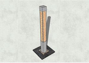 现代风格方形花格柱形灯柱SU(草图大师)模型