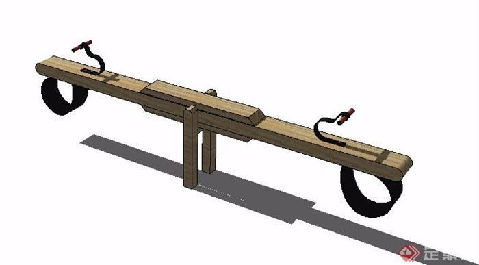 簡約木制蹺蹺板設計su模型