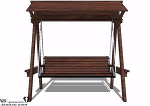 中式木制秋千椅设计SU(草图大师)模型