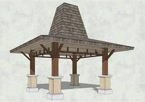东南亚详细完整的凉亭设计SU(草图大师)模型