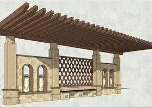 东南亚风格廊架素材设计SU(草图大师)模型