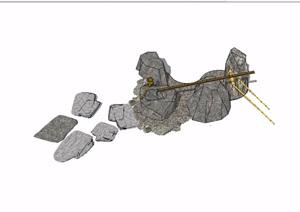 园林景观景观石头素材设计SU(草图大师)模型