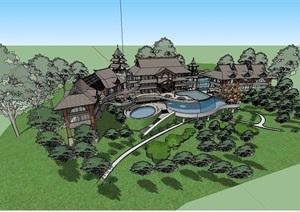 东南亚风格会所多层建筑设计SU(草图大师)模型
