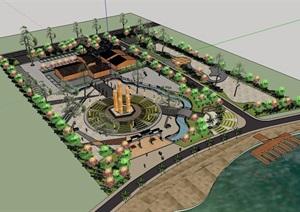 老年人休闲公园景观设计SU(草图大师)模型