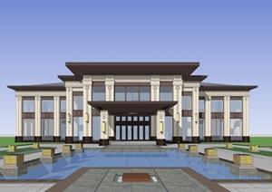 城阳鲁昊售楼处建筑设计SU(草图大师)模型
