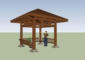 木质凉亭详细设计SU(草图大师)模型