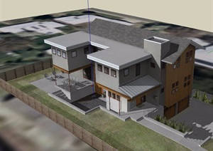 中式农村自建别墅SU(草图大师)模型