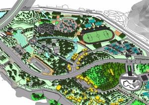 体育休闲广场公园设计SU(草图大师)模型