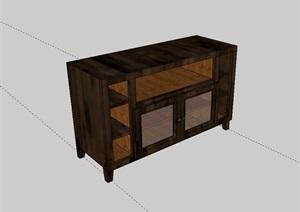 中式木质柜子设计SU(草图大师)模型