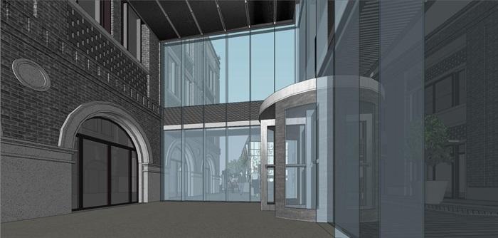 某商業民國風商業街特色商業街民國建筑su精細模型(9)