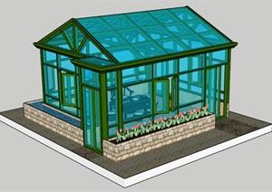 花园玻璃阳光房建筑设计SU(草图大师)模型