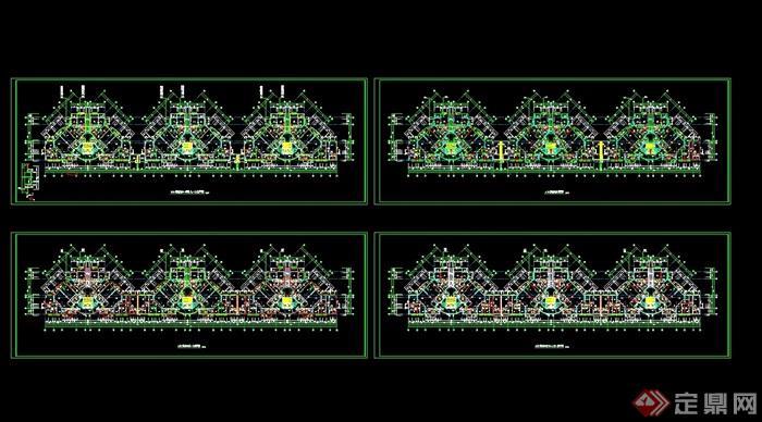 高层住宅平面图cad_高层住宅楼标准层cad平面图[原创]