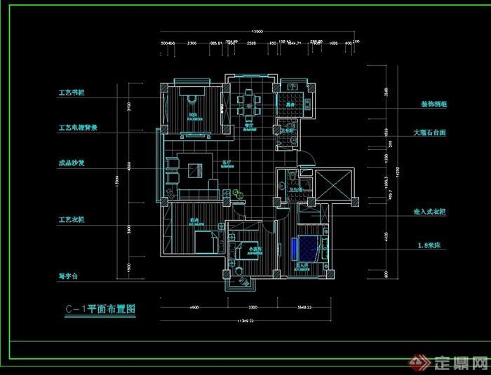 某现代住宅室内装饰cad施工图
