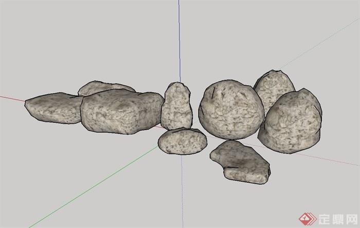 园林景观景石su模型