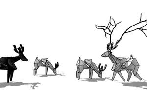 某鱼群雕塑小鹿鹿群雕塑SU(草图大师)模型