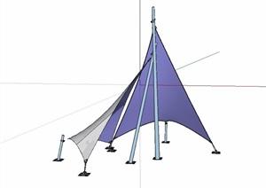 现代独特园林景观张拉膜SU(草图大师)模型