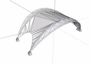 休闲详细的张拉膜SU(草图大师)模型
