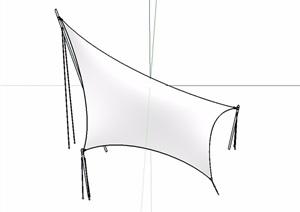 园林景观张拉膜独特素材SU(草图大师)模型