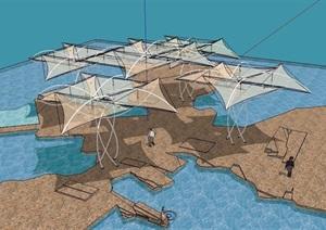 现代园林景观张拉膜素材SU(草图大师)模型