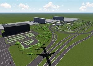 武汉天河飞机场l建筑设计SU(草图大师)模型