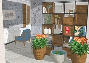 一个现代风格医疗院室内装潢方案SU模型