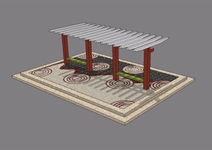 某园林景观现代廊架SU(草图大师)模型