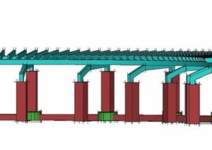 简约弧形花廊架设计SU(草图大师)模型