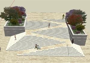 坡地台阶坡道结合景观设计SU(草图大师)模型