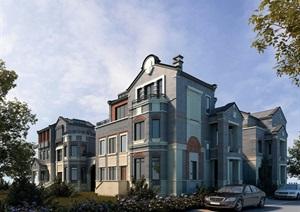 现代中式合院别墅详细建筑设计SU(草图大师)模型
