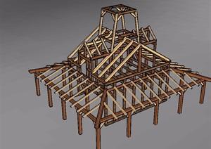 木质建筑构件素材SU(草图大师)模型