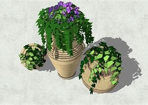 园林景观陶罐盆景小品SU(草图大师)模型