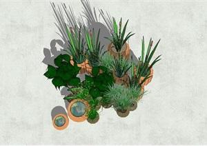 园林景观陶罐小品盆栽设计SU(草图大师)模型