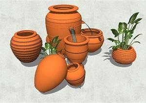 现代陶罐详细小品设计SU(草图大师)模型