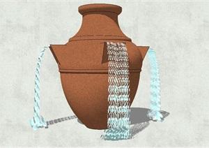 陶罐喷水小品设计SU(草图大师)模型