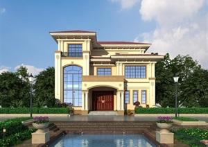 简欧别墅外观详细建筑设计3d模型
