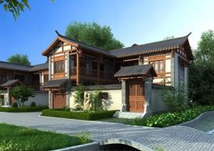 古建四合院详细别墅3d模型