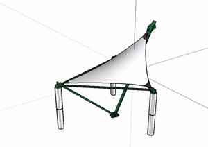 现代园林构架张拉膜小品SU(草图大师)模型