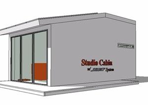 简约现代工作室设计SU(草图大师)模型