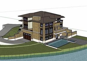 新古典风格私人别墅住宅建筑SU(草图大师)模型