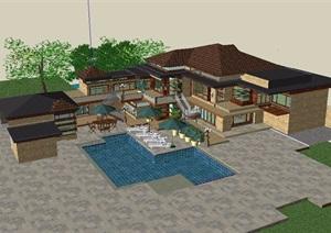 新古典风格别墅建筑SU(草图大师)模型