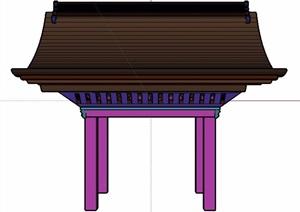 中式翘角凉亭设计SU(草图大师)模型