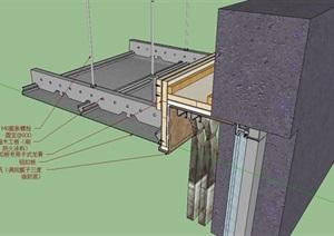 建筑吊顶材料饰面构造节点大样SU(草图大师)模型