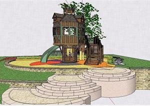中式风格树屋设计SU(草图大师)模型