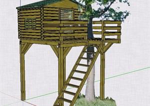 中式创意树屋设计素材SU(草图大师)模型