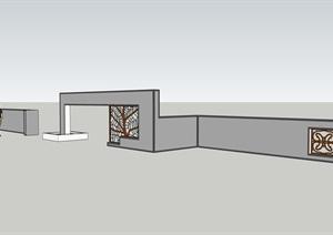 详细中式景墙设计SU(草图大师)模型2017版本含cad、pdf方案