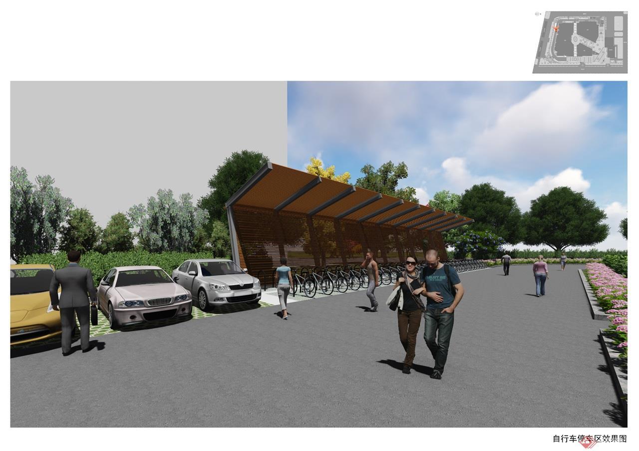 36 自行车停车区效果图