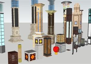 各式景觀高矮燈柱組件SU(草圖大師)模型