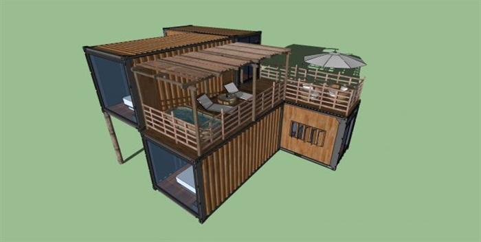 集装箱设计图:现代集装箱住宅建筑及屋顶设计