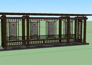 廊架、栈桥、坐墙SU(草图大师)模型
