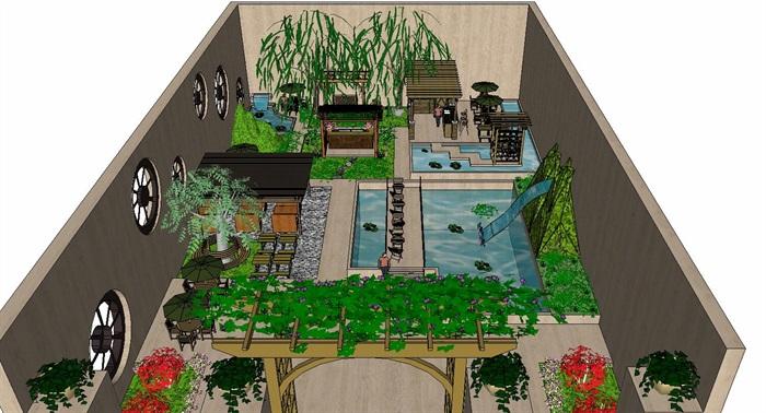 居住住宅中式禪意日式精致庭院景觀設計(6)